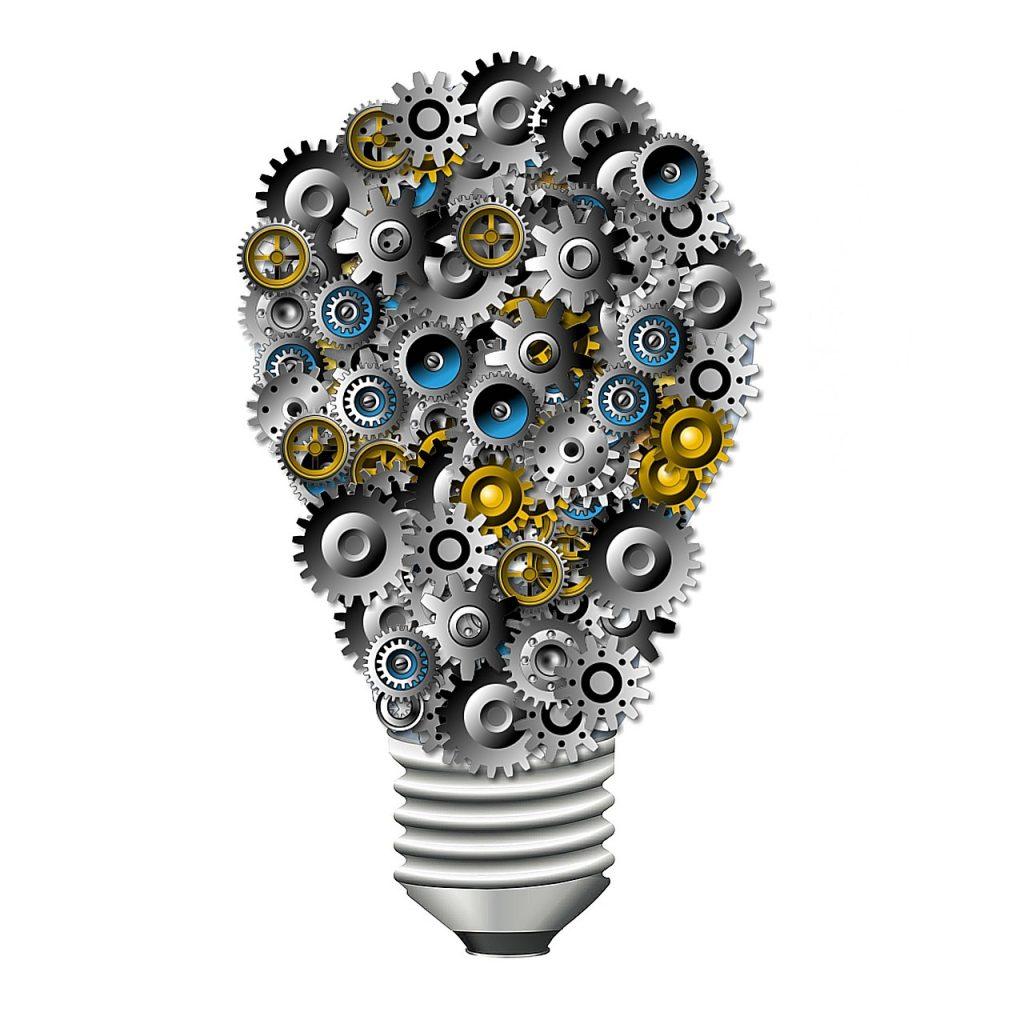 gears, bulb, innovation